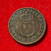 #2706 - RARE Louis XV Sol à la vieille tête 1774 H La Rochelle TTB - FACTURE
