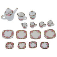 15pcs Dollhouse Miniature Dining Ware Porcelain Tea Set Pot+Dish+Cup+Saucer L1I7