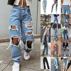 Womens Loose Baggy Destroyed Frayed Jeans Denim Pants Ladies Casual Trousers UK