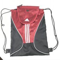 Adidas Drawstring Athletic Backpack Gym Bag Maroon and Black
