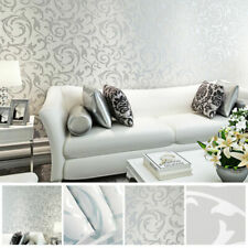 3D Victorian Damask Embossed Wallpaper Rolls Art TV Background Decor Silver UK