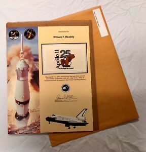 NASA Apollo 11 25th Anniversary Flag Space Flown STS65 Columbia Astronaut Readdy