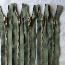 5 X 18 cm Metal Zips Sage Green YKK Brand (#225)