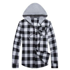 Mens Long Sleeve Lattice Shirts Casual Hooded Hoodie Sweatshirt Shirts Jackets