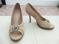 Next - Womens Neutral Soft Suede Look Stiletto Open Toe Shoes - Size 6 / 39