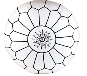Moroccan handmade high quality leather ottoman round large white pouf