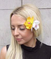 Double White Yellow Orchid Flower Hair Clip Rockabilly 1950s Fascinator Vtg 3205