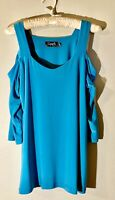 NEW! Sympli 3/4 Sleeve Etched Top Cold Shoulder Turquoise Teal Size 10