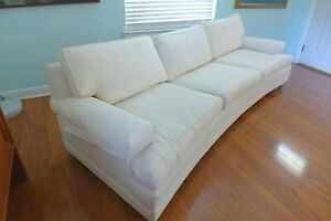 """Mid Century Curved White Sofa Style of Ed Wormley VTG 101"""" Long Couch Casters"""