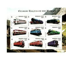 Mongolia - Classic Trains Of The World - Railroad - Sheet Of 9 Stamps - MNH
