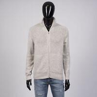 LORO PIANA 2955$ Zipped Bomber Eaglecrest Sweater In Beige Baby Cashmere