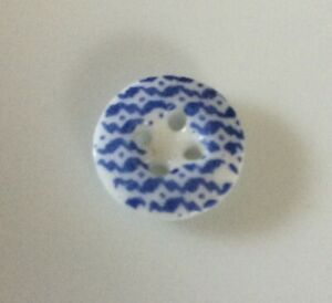 Unusual Antique China Calico Button Small Blue Old Uncommon Pattern