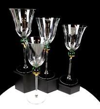 "CRATE & BARREL #CTB15 FLARED RIM 4 PC GREEN BALL STEM GOLD 8 7/8"" WINE GLASSES"