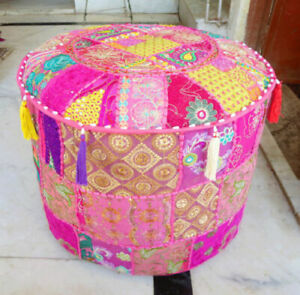"""14X22"""" Indian Cotton Round Footstool Cover Throw Patchwork Vintage Ottoman Pouf"""