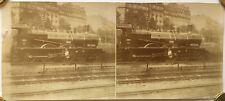 Photographie Stéréo, Train Locomotive Cheminot Paris Dépôt des Batignolles 1900