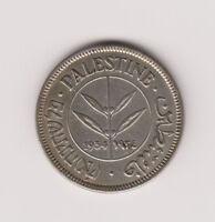 Palestine British Mandate Silver Coin Israel 50 Mils Mil 1933 KM6 Key Date AU