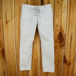 Ann Taylor LOFT Pants Womens 2 Ivory Cream Cotton Blend Lace-Up Closure Stretch
