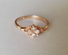 Vintage 14K Rose Gold Clear Four White Stones Ring Size 7.5