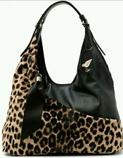 NWT $795 DVF WRAP BAG  LEOPARD FUR BLACK SOFT LAMBSKIN HOBO BROWN BAG GOLD LIPS