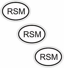 3x Oval Black & White Stickers San Marino Small Country Code Tablet phone Case