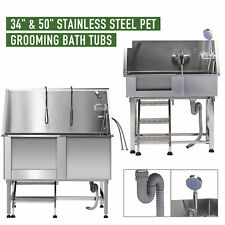 "34"" 50'' Pet Bathtub Dog Grooming Kit Stainless Steel Grooming Tub for Pets"