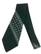 True Vintage Necktie 70's Men's Wide Neck Tie Abstract Dark Green Paisley Woven