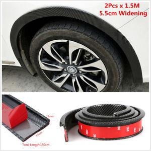 2Pcs 5.5cm/1.5M Widening Car Fender Flare Wheel Eyebrow Trim Carbon Fiber Color
