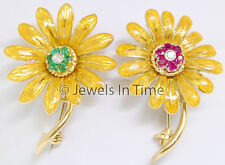 18k Yellow Gold Diamond & Ruby & Emerald Pair of Brooches