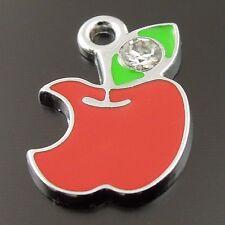 20pcs New Arrived Alloy Enamel Rhinestone Apple Leaf Fruit Charms 36227