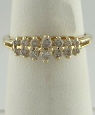 14K YELLOW GOLD 1/4ct DIAMOND DOUBLE ROW ANNIVERSARY CATHEDRAL WEDDING BAND RING