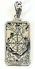 THE WHEEL OF FORTUNE TAROT CARD STERLING 925 SILVER PENDANT