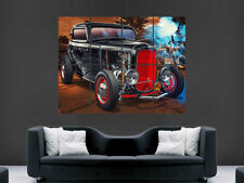 Rojo Negro Ford Hot Rod coche cartel Clásico Usa Gran Gran Pared Arte