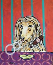 afghan hound at the cigar bar dog art print 8x10