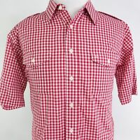 CHRISTIAN DIOR SHORT SLEEVE RED GINGHAM CHECK BUTTON DOWN SHIRT MENS SIZE XL