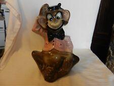 Vintage 1950s Ceramic Organ Grinder Monkey Piggy Bank by Miller with Pink Jacket