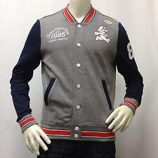 Men's SUPER MARIO BROS Light Varsity Jacket NINTENDO Gray/Blue Small S Org. $70
