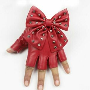Women Black Color Gloves Fashion Solid Punk Fingerless Wrist Leather Bow Mitten