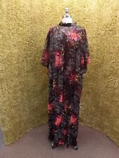 Vtg 1960s Fall Season Florals MAXI DRESS & SHEER CAPE XL Mod Party Dance Casual