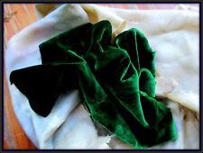 Gorgeous Antique Heavenly Soft Silk Velvet Fabric Fragment Emerald Green