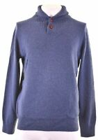 J. CREW Mens Button Neck Jumper Sweater Medium Blue Wool  LS03