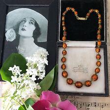 Vintage Art Deco 20s 30s Venetian Czech Amber Gold Foil Beads Necklace. Gift