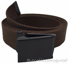 "FLIP TOP 54"" INCH DARK BROWN CANVAS MILITARY WEB BELT BLACK BUCKLE MEN WOMEN"