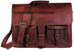 GVB_Leather Vintage Men Messenger Shoulder Satchel School S Briefcase Laptop New