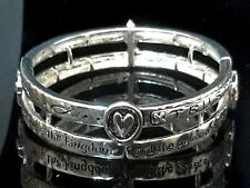 Cross Fish Of Life Bracelet Stack Statement Silver Metal Lord's Prayer Religious