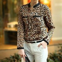 Womens Chiffon Leopard Print Long Sleeve V-Neck Jacket Shirt Slim Casual Blouse