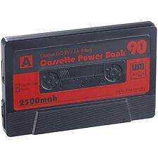 Powerbank Universal: Powerbank in Retro-Kassetten-Optik, 2.500 mAh