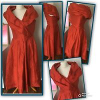 LAURA ASHLEY Dress Size 8 RED   TAFFETA  BALLGOWN PARTY Vintage Evening Cocktail