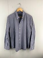 Trent Nathan Men's Long Sleeve Button Up Shirt Size 2XL Blue Green Check