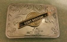 Montana Silver plated Fort Benton Ladies Men Gold rounded Square Belt Buckle