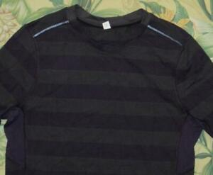 LULULEMON Grey Purple Striped Long Sleeve Crewneck Shirt Medium M